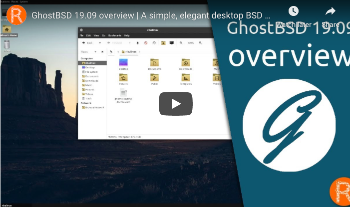 GhostBSD 19.09 overview by Riba Linux – A simple, elegant desktop BSD OS
