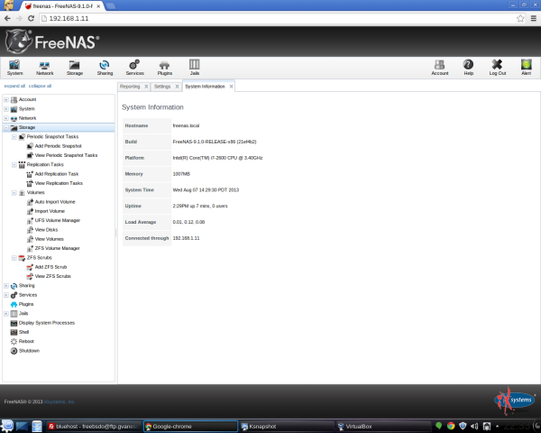 FreeNAS 9.1 Screenshots