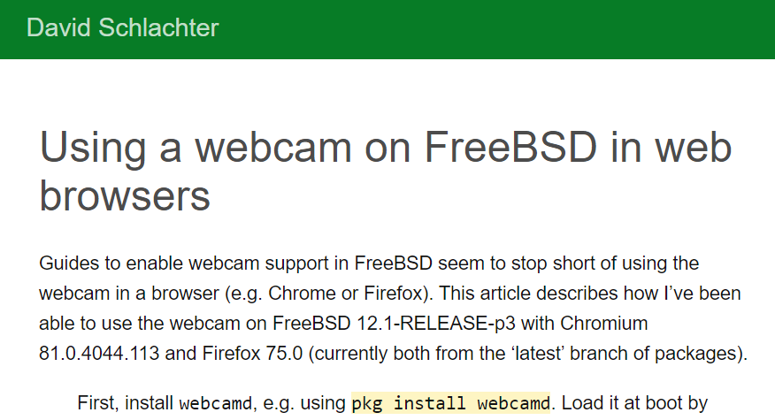 [How-To] Using a webcam on FreeBSD in web browsers by David Schachter