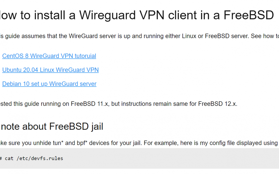 [How-To] Install a Wireguard VPN client in a FreeBSD jail by nixCraft
