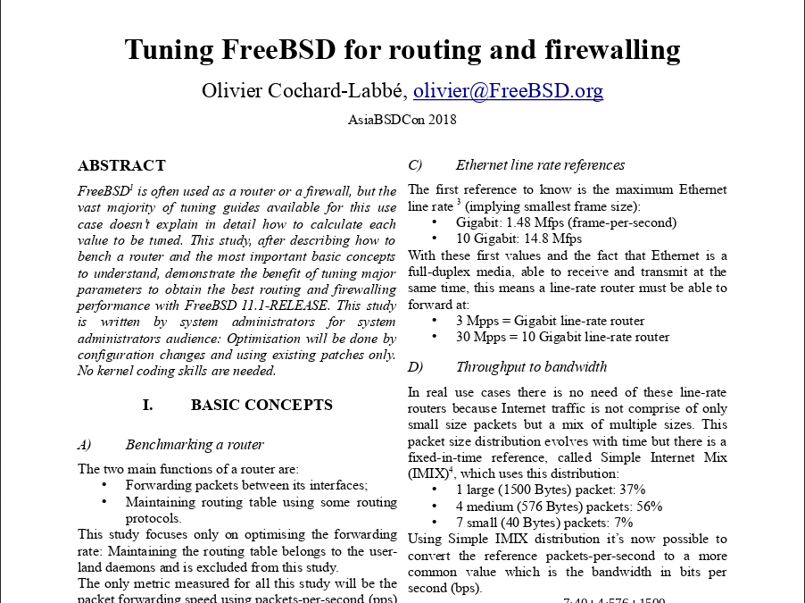 Tuning FreeBSD for routing and firewalling