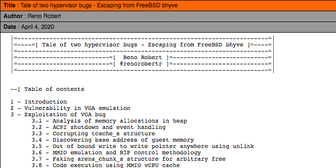 Tale of two hypervisor bugs – Escaping from FreeBSD bhyve by Reno Robert