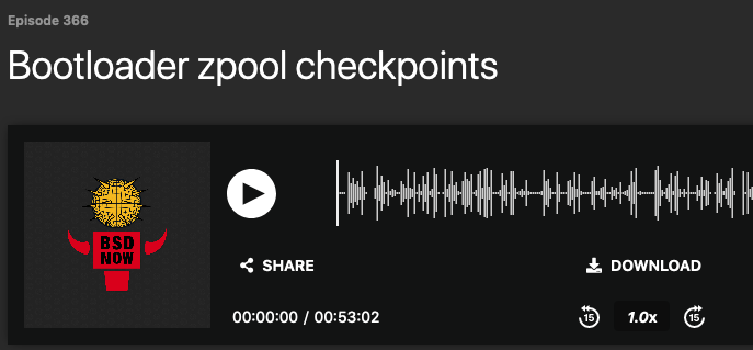 BSD Now Episode 366: Bootloader zpool checkpoints