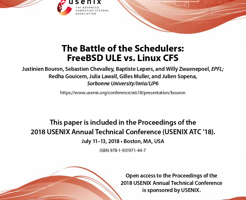 The Battle of the Schedulers: FreeBSD ULE vs. Linux CFS (USENIX)