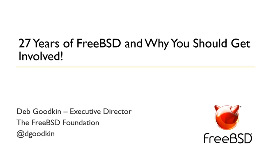 27 Years of FreeBSD and Why You Should Get Involved! Webinar with Deb Goodkin