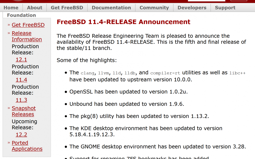 FreeBSD 11.4-RELEASE is now available