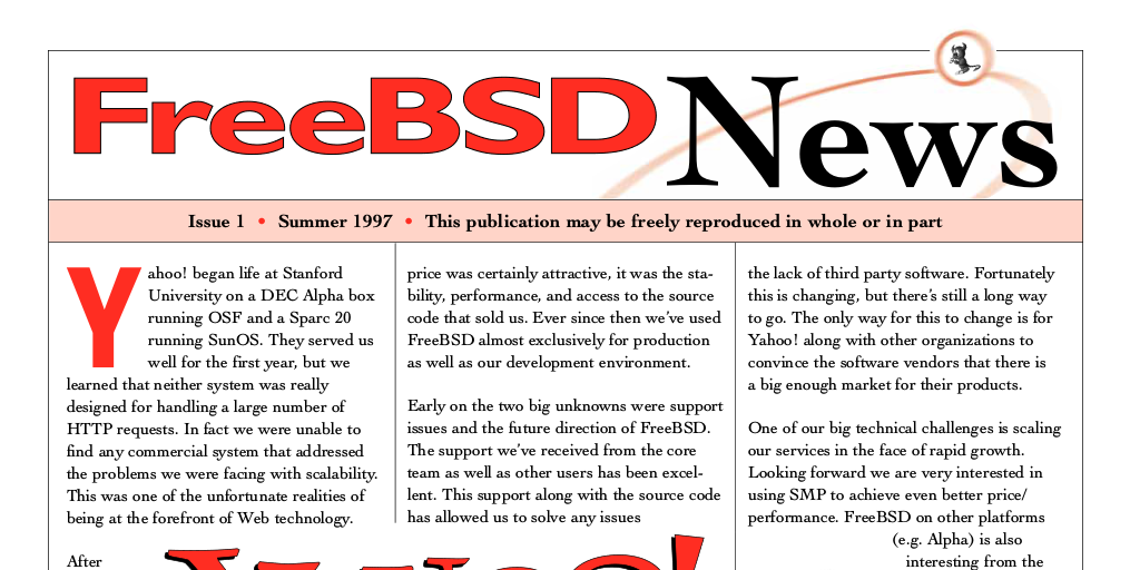 Original FreeBSD News Issue 1