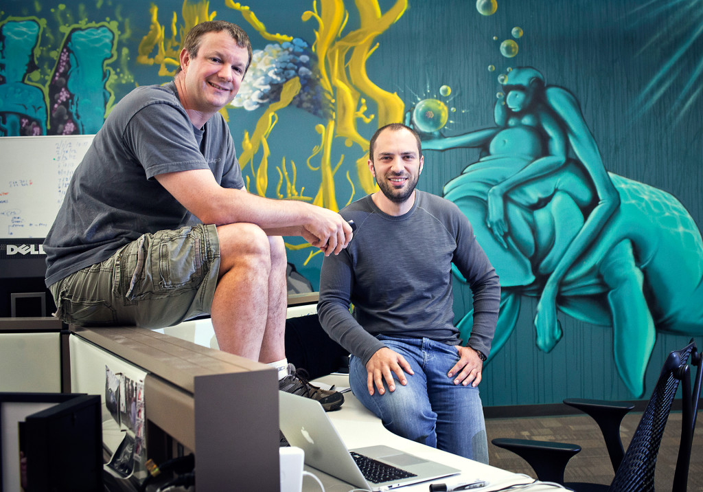 FILE -- WhatsApp founders Brian Acton, left, and Jan Koum at company headquarters in Mountain View, Calif., May 23, 2013. The frenzy to acquire fast-growing technology startups reached new heights on Feb. 19, 2014 as Facebook announced its largest ever acquisition, saying it would pay at least $16 billion for WhatsApp, a text messaging application with 450 million users around the world. (Peter DaSilva/The New York Times)
