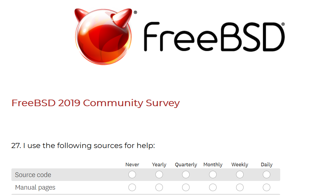 FreeBSD 2019 Community Survey